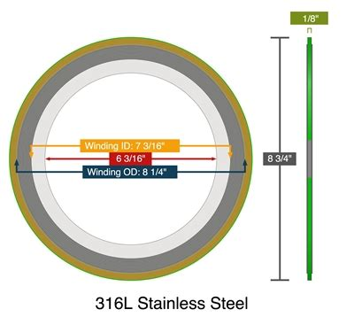 Spiral Wound Gasket 4 150 Winding Ss316 Inner C S Outer C W Gf Ches 2 spiral wound with carbon or 316 ss fg winding and 316l ss ir 150 lb 6 quot pack of 10
