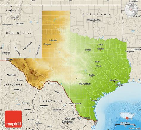 physical map texas physical map of texas shaded relief outside