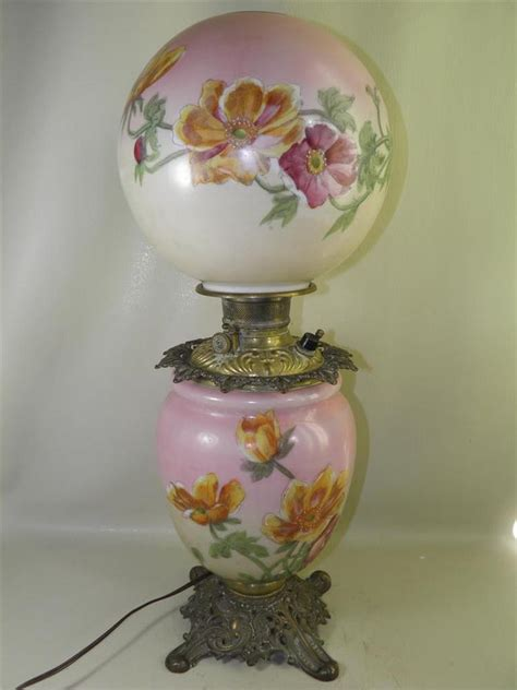 antique oil ls converted to antique gone with the wind signed phoenix floral oil lamp