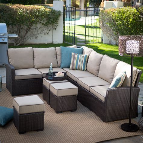 sofa sectional patio dining set belham living monticello all weather outdoor wicker sofa