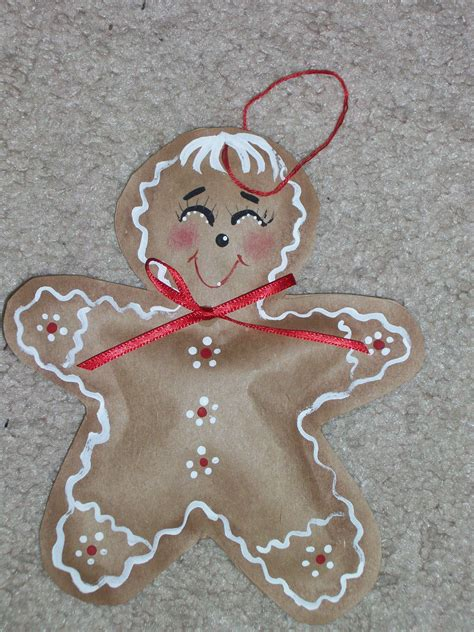 gingerbread ornament out of brown paper gingerbread ornament from brown paper bag craft projects brown paper