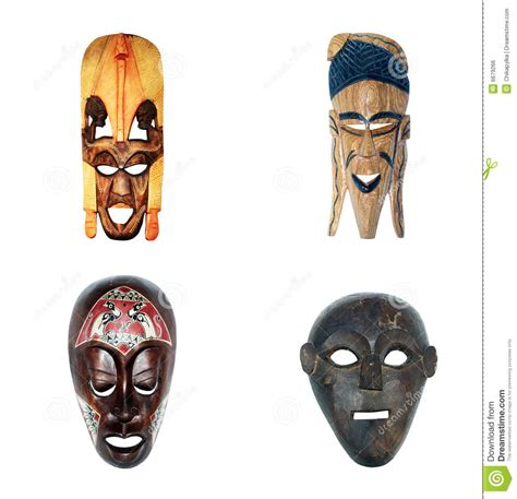 african masks collection royalty free stock image