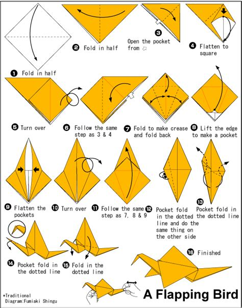 Procedure Text Origami - origami flapping bird pentecost origami