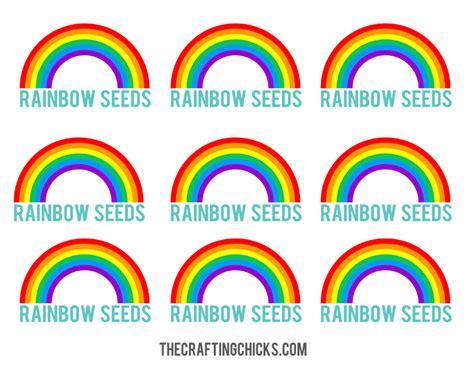 free printable rainbow name tags rainbow seeds free printable the crafting chicks