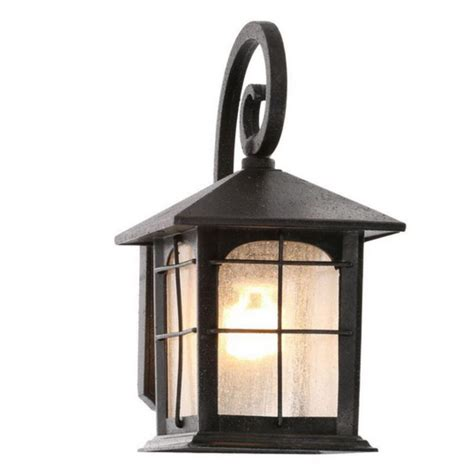 Exterior Wall Sconce Light Fixtures Outdoor Exterior Porch Wall 1 Light Lantern Lighting Fixture Glass Iron Sconce Ebay