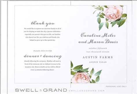 Free Printable Wedding Program Templates by Wedding Program Templates Free Printable Wedding