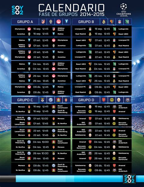 Calendario De La Uefa Chions League 2015 161 Arranca La Uefa Chions League 2014 2015 Soy502