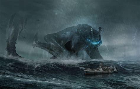 wallpaper sea  storm wave storm rain ship monster
