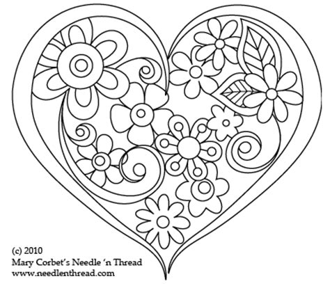 free hand embroidery pattern heart o flowers