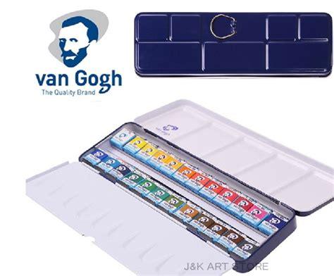 Gogh Watercolor Plastic Set 24 Half Pans gogh watercolor 24 color half pan pocketbox a brush included watercolor set use in