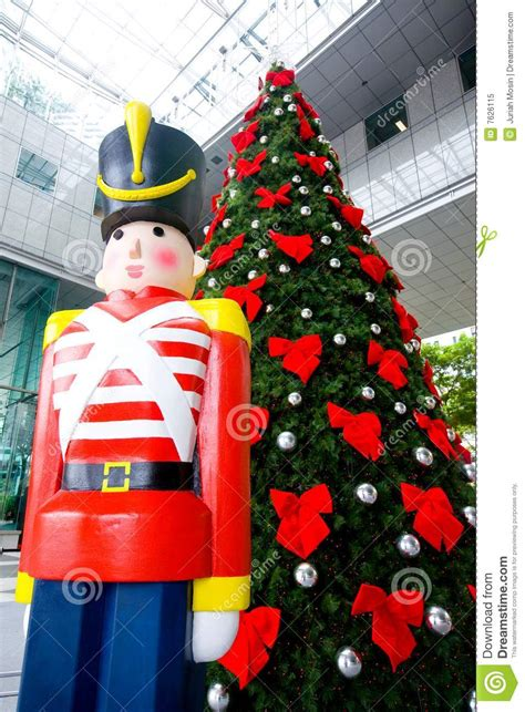 christmas tree  wooden soldier decoration stock image