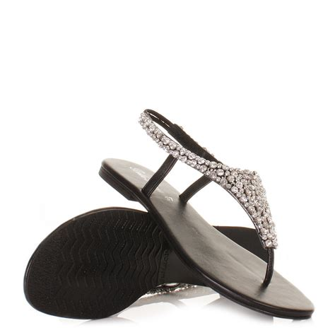 black flat evening shoes sandals for womens black clear diamante flat slingback