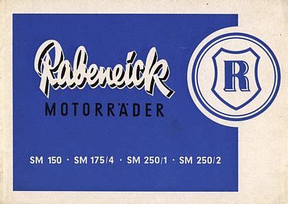 Rabeneick Motorrad Modelle by Motormobilia Rabeneick Motorrad Prospekt 6 Seiten 1953