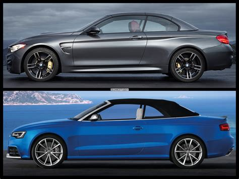 audi convertible hardtop 2015 bmw m4 convertible vs audi rs5 cabrio photo comparison