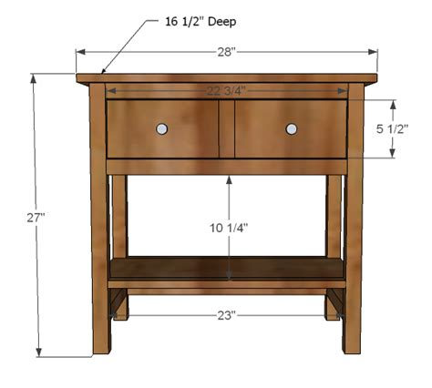 standard nightstand height ana white farmhouse bedside table diy projects