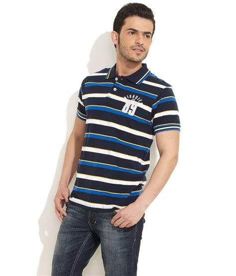 Kaos T Shirt Medium Stripe medium blue broad striped polo t shirt buy medium blue broad striped polo t shirt