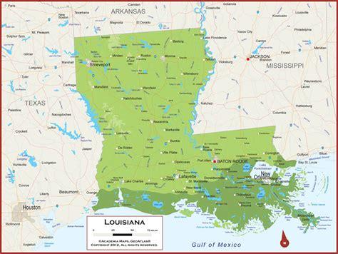 physical map of louisiana louisiana physical state map