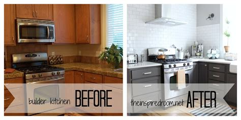 Before And After Painted Kitchen Cabinets Kitchen Cabinet Colors Before After The Inspired Room