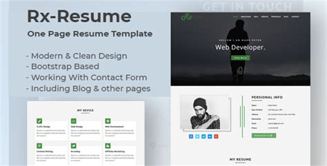 Bootstrap Templates For Village | rx resume bootstrap onepage parallax resume template by