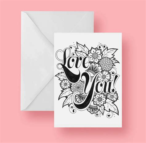 printable christmas cards foldable printable love you coloring greeting card 5x7 inches folded