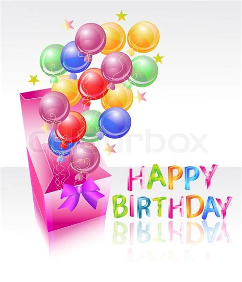 bright box with air balloones and happy birthday