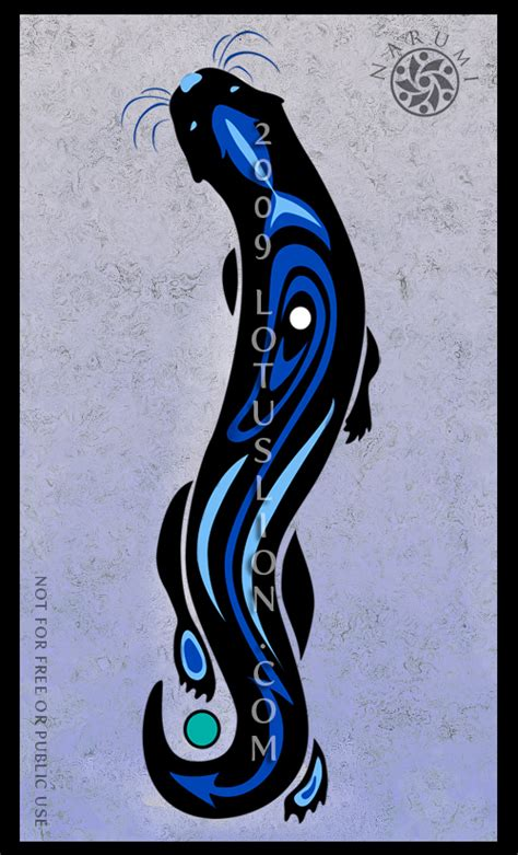 tribal otter tattoo blue otter by naryu on deviantart