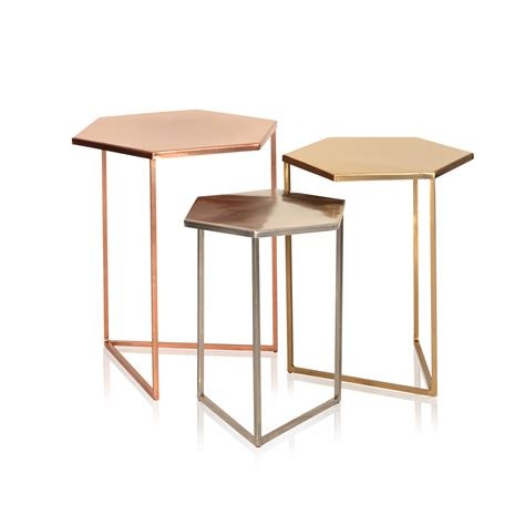 Three Tables by Set Of Three Hexagon Metallic Nesting Tables Oliver Bonas