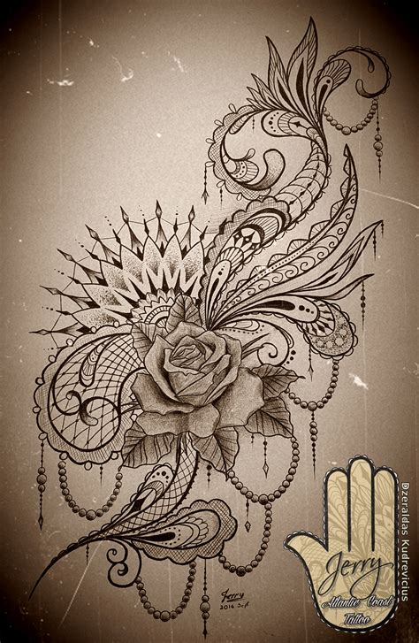 girly rose tattoo designs feminine mandala idea design with lace and
