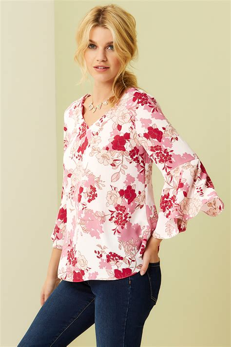 Printed Sleeve Blouse floral printed fluted sleeve blouse