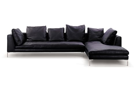 Minimalist Black Leather Sectional Couch With Cushions Of L Shaped Leather Sofa
