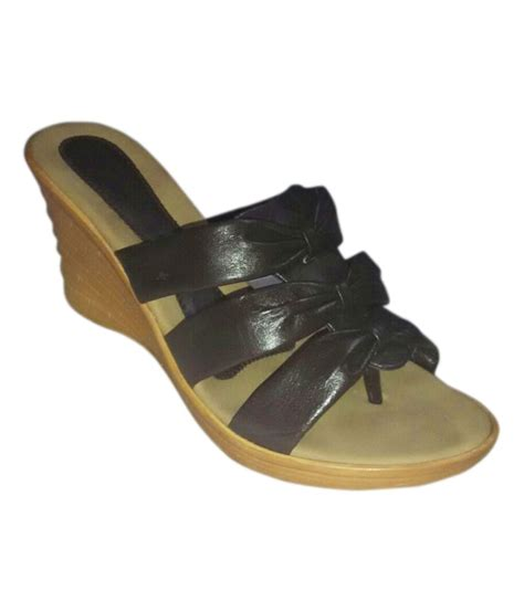 cobblerone brown faux leather wedges sandals price in
