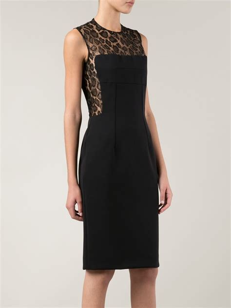 Lace Panel Cocktail Dress lyst mcqueen lace panel cocktail dress in black