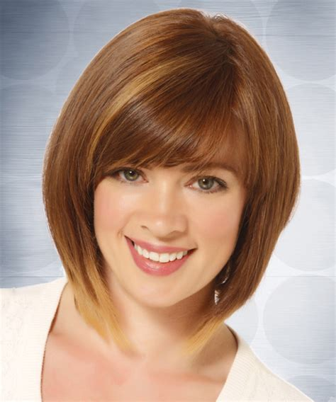 light straight bangs medium straight casual bob hairstyle with side swept bangs