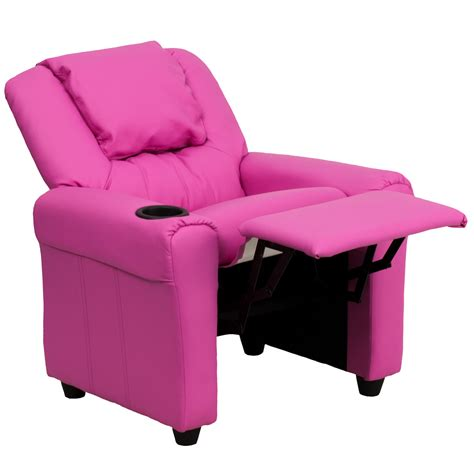 pink recliners contemporary hot pink vinyl kids recliner with cup holder