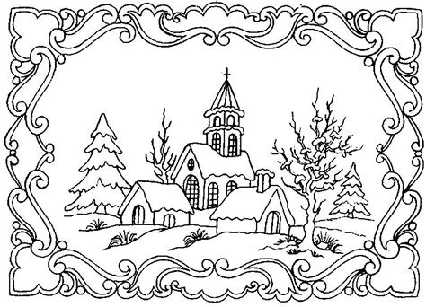coloring pages for winter scenes winter scene coloring pages for adults google search