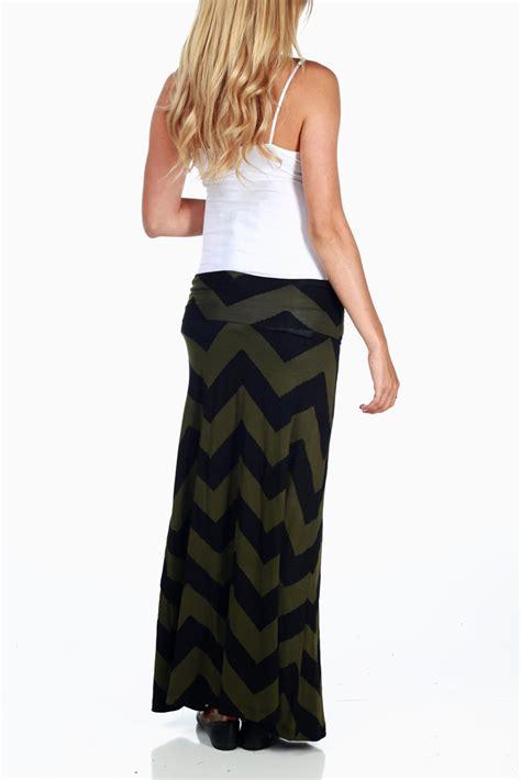 Sale Import 6271 olive black chevron print maternity maxi skirt