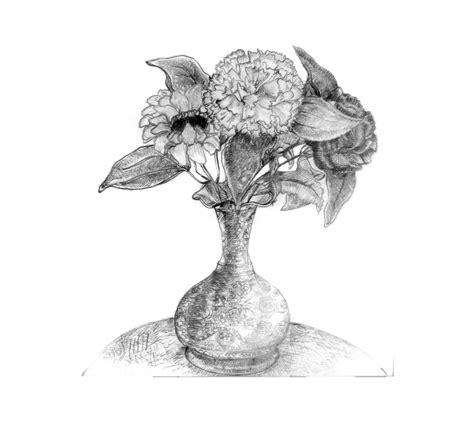 Pencil Sketch Of Flower Vase sketches on behance