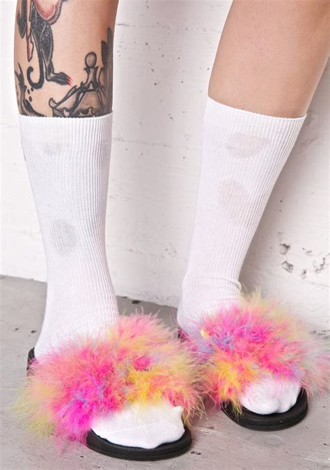 Sandal Bulu Rainbow Fur Unicorn pink rainbow fluffy slides dolls kill
