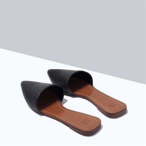 flat leather shoes flat leather slippers shoes shoes bags zara