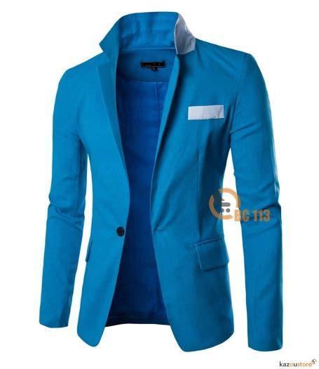 Jaket Jas Blazer Casual Pria Biru detil produk casual blazer pria slim fit bc113 biru