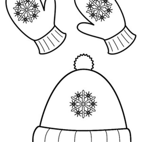 coloring pages of mittens and hats warm clothes for childrens in winter season coloring page