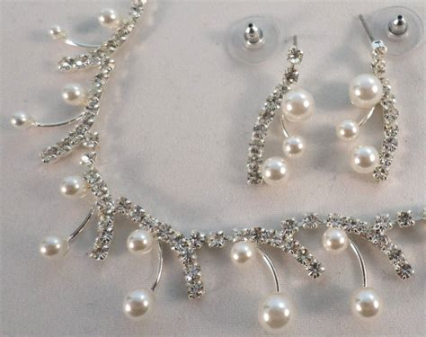 Rhinestone Necklace Earrings delicate pearl drop rhinestone bling necklace and