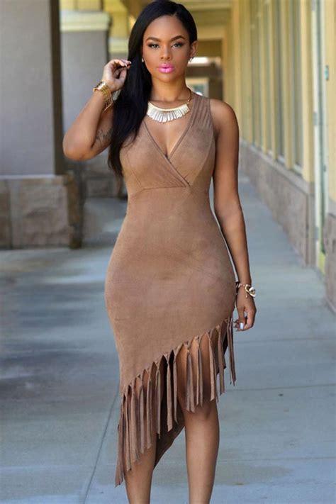 Chika Maxi Cardi camel fringe asymmetric hem bodycon casual dress casual