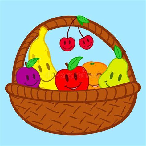doodle basket fruits in basket doodle smile stock vector