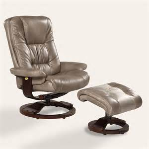 Recliner With Ottoman Mac Motion Oslo Bonded Leather Swivel Recliner With Ottoman Cloud Gray At Hayneedle