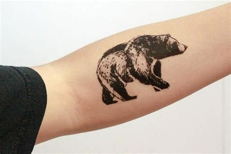 tattoo ink contains animal bear temporary tattoo black ink forest animal tattoo