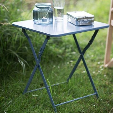 shabby chic folding metal picnic table in dorset blue