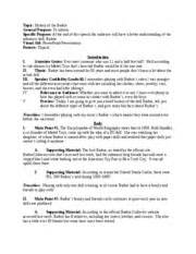 Speaking Outline Vs Preparation Outline by Informative Speech Outline Topic History Of The General Purpose To