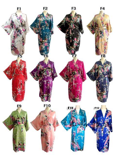 kimono pattern layout on sale set 9 kimono robes bridesmaids silk satin mix colour