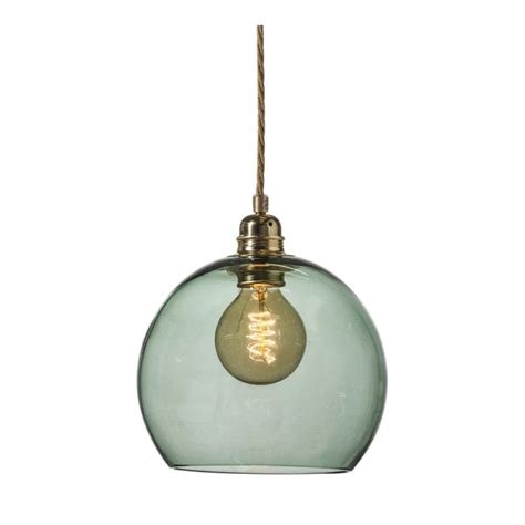 Forest Ceiling Light by Forest Green Blown Glass Ceiling Pendant With Gold Braided Cable